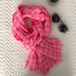 Jcrew pink check scarf
